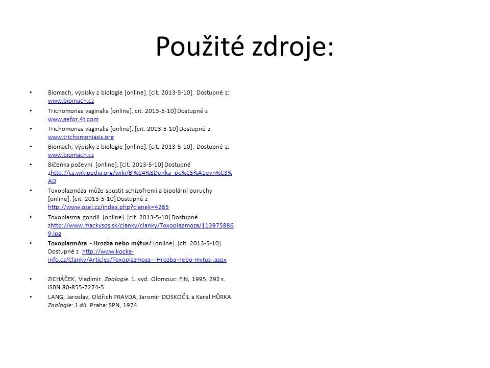 Použité zdroje: Biomach, výpisky z biologie [online]. [cit. 2013-5-10]. Dostupné z: www.biomach.cz.